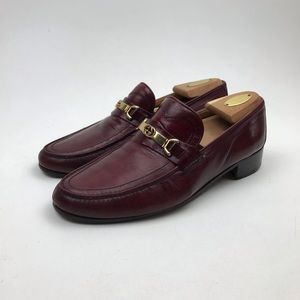 $749 GUCCI BURGUNDY LEATHER HORSE BIT LOAFERS 10.5